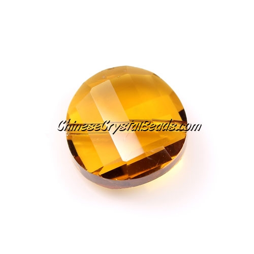 Chinese Crystal Twist Bead, Topaz, 18mm, 10 beads