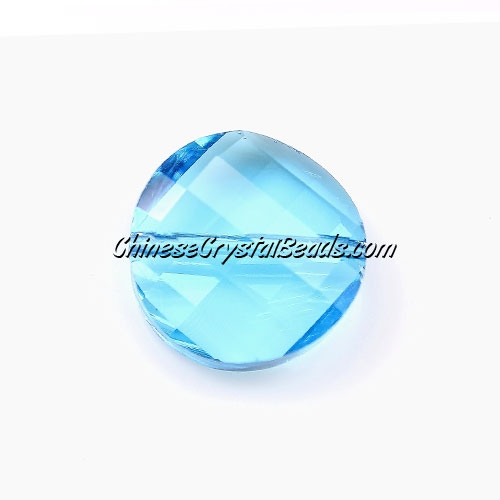 China Crystal Twist Bead 18mm , Aqua, 10 beads