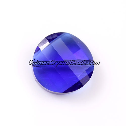 Chinese Crystal Twist Bead, sapphire, 18mm, 10 beads