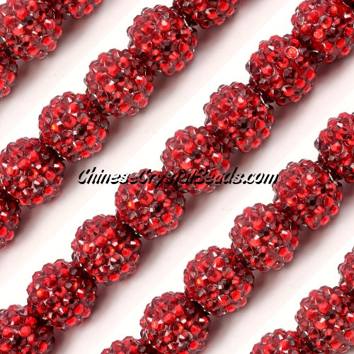 Chinese Crystal Disco Bead Acrylic Red 14mm(inside), 15 beads