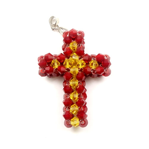 Crystal 3D beaded Red/yellow Cross Charm Kit #1