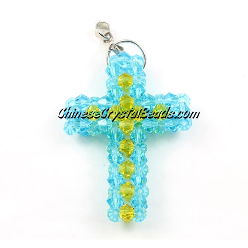 Crystal 3D beaded aqua/yellow Cross Charm Kit #2