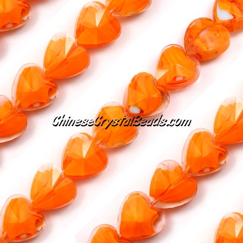 Millefiori 14mm faceted heart Beads Clear /orange, 10 beads