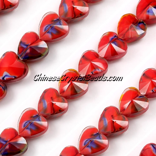 Millefiori 14mm faceted heart Beads red/blue, 10 beads
