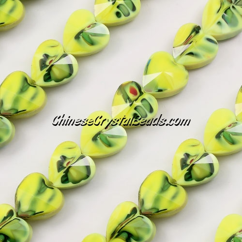 Millefiori 14mm faceted heart Beads yellow/green, 10 beads