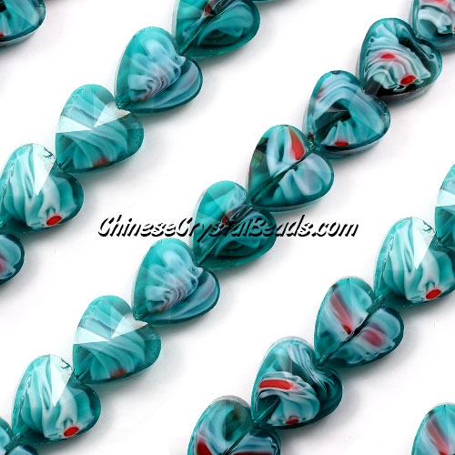 Millefiori 14mm faceted heart Beads indicolite/white/red 10 beads