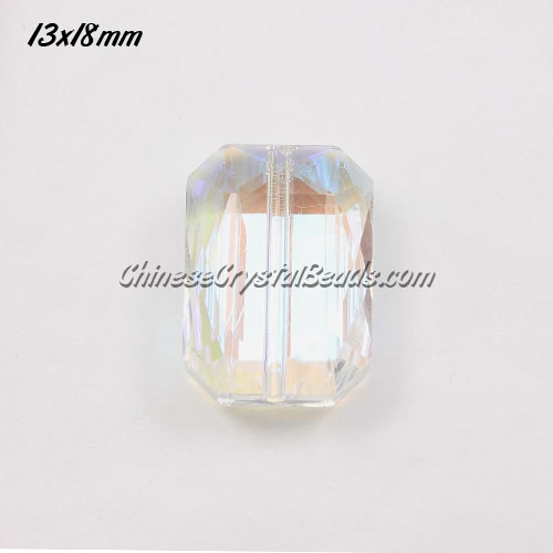 Chinese Crystal Faceted Rectangle Pendant ,clear AB, 13x18mm, 10 beads