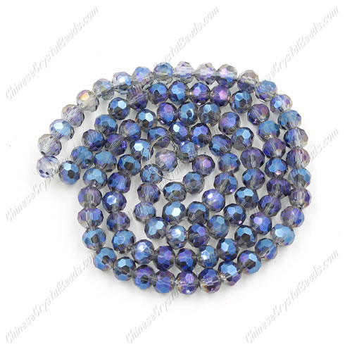 Chinese Crystal 4mm Long Round Bead Strand, Blu_ray, about 100 beads