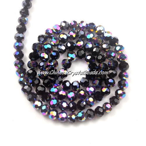 Chinese Crystal 4mm Long Round Bead Strand, black and half rainbow, about 100 beads
