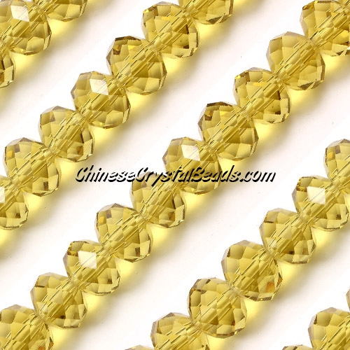70Pcs 8x10mm Crystal Rondelle Bead Strand, citrine