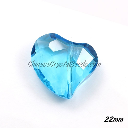 Chinese Crystal Falling Heart Pendant, Aqua, 22mm, 6 pcs