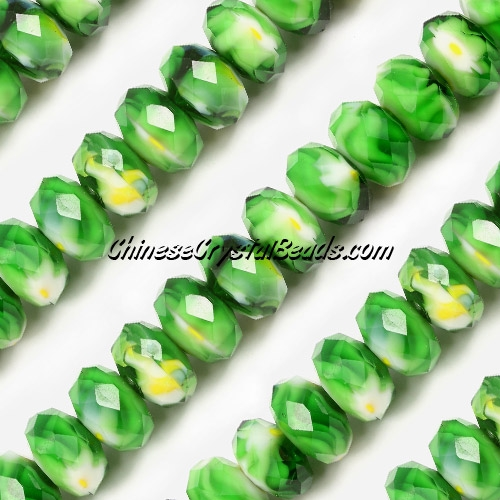 Millefiori Crystal faceted rondelle Beads, green, 8x14mm, 20 beads