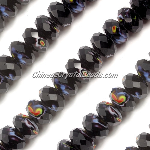 Millefiori Crystal faceted rondelle Beads, black(jet), 8x14mm, 20 beads