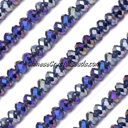 Chinese Crystal 4x6mm Rondelle Bead Strand, Mexican Blue AB, about 100 beads