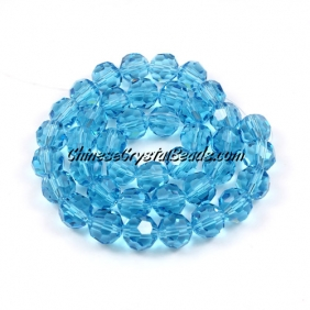 Crystal Round beads strand, 8mm, Aqua, 25 beads