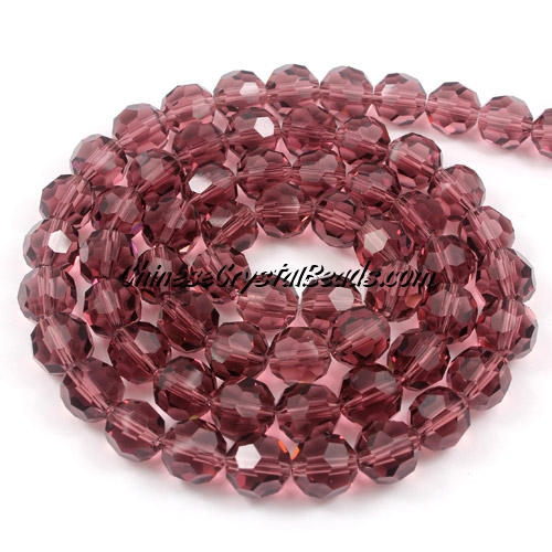 Crystal Round beads strand, 8mm, Amethyst, 35 beads