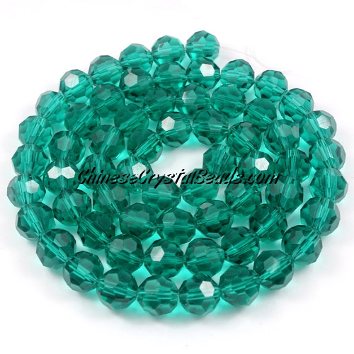 Crystal Round beads strand, 8mm, Emerald, 25 beads