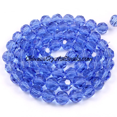 Crystal Round beads strand, 8mm, Med-sapphire, 25 beads