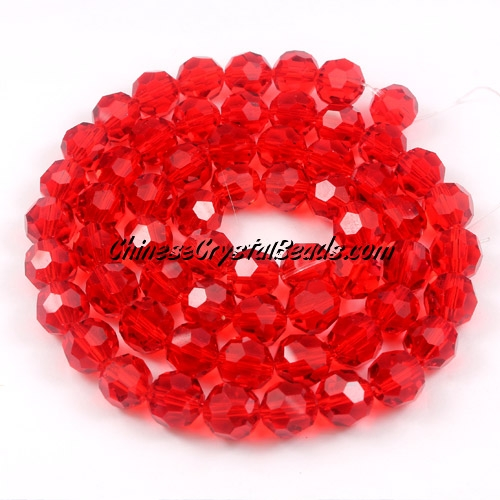 Crystal Round beads strand, 8mm, siam, 25 beads