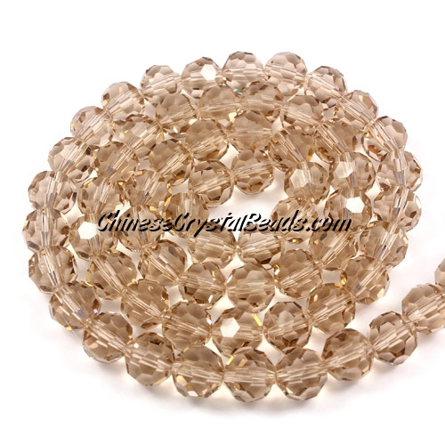 Crystal Round beads strand, 8mm, silver champagne, 25 beads