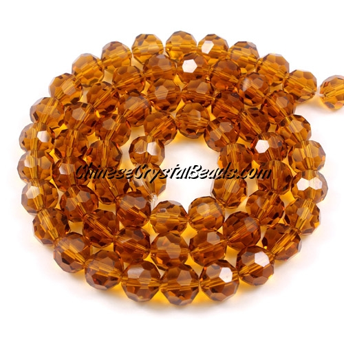 Crystal Round beads strand, 8mm, Amber, 25 beads
