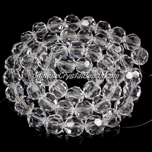 Crystal Round beads strand, 8mm, Clear, 25 beads