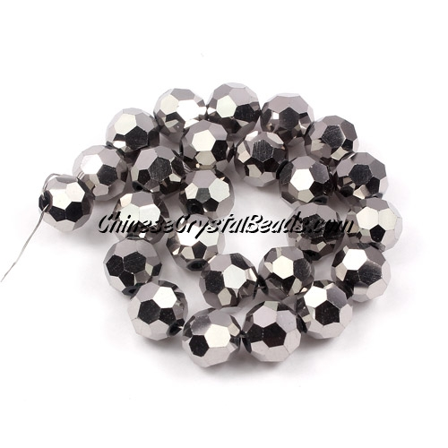 Chinese Crystal Round Strand, 8mm, Silver ,25 beads