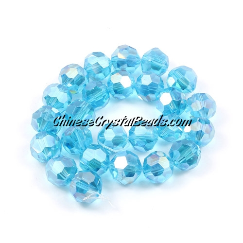 Chinese Crystal Long 8mm Round Bead Strand, Aqua AB , 25 beads
