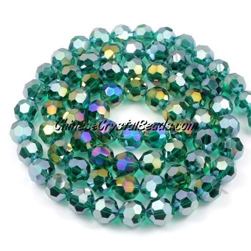 Crystal Round beads strand, 8mm, Emerald AB, 35 beads