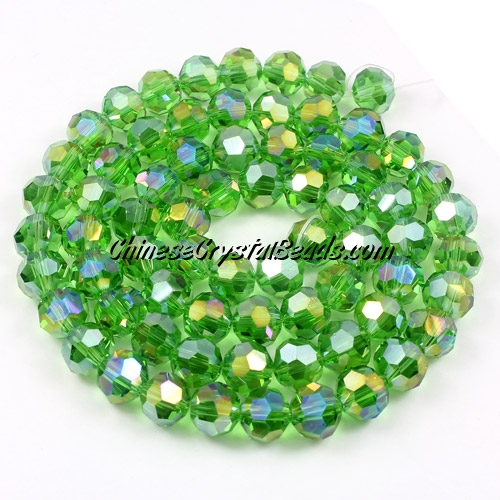 Crystal Round beads strand, 8mm, Fern green AB, 25 beads