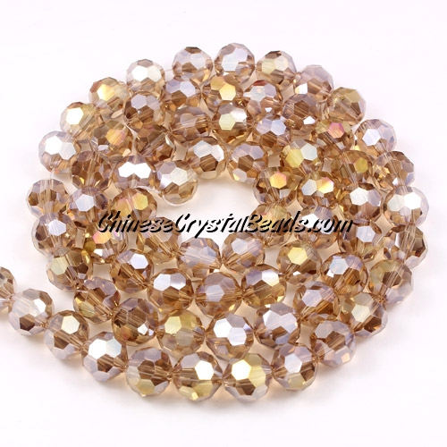25Pcs Crystal Round beads strand, 8mm, silver champagne AB