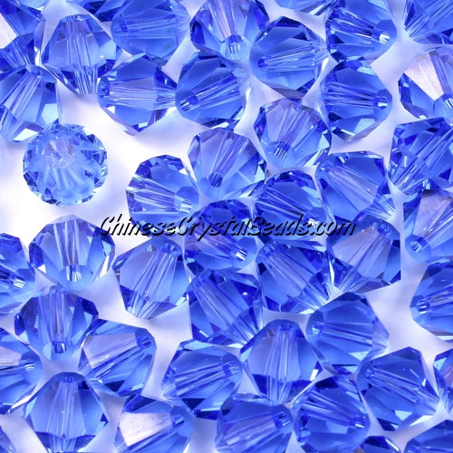 Chinese Crystal 8mm Bicone Beads, Med. Sapphire, #809, AAA quality, 10 beads