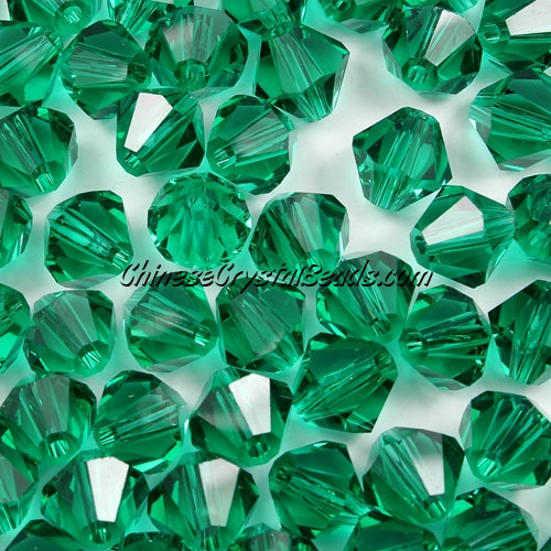 Chinese Crystal 8mm Bicone Beads, Emerald, #841, AAA quality, 10 beads