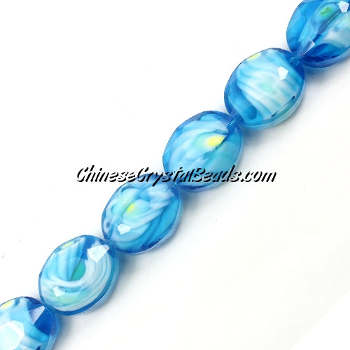 Millefiori faceted oval glass beads, aqua, 20x24mm, 1 beads