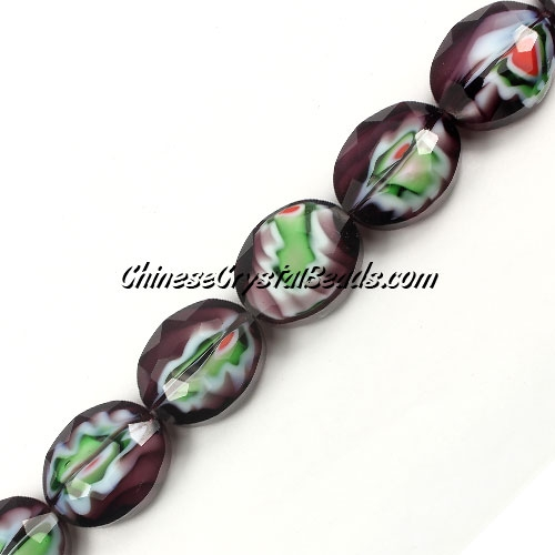 Millefiori faceted oval glass beads, purple, 20x24mm, 1 beads