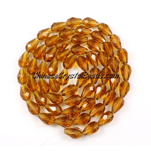 25Pcs 8x12mm Chinese Crystal Teardrop Strand, Amber