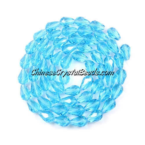 25Pcs 8x12mm Chinese Crystal Teardrop Strand, Aqua