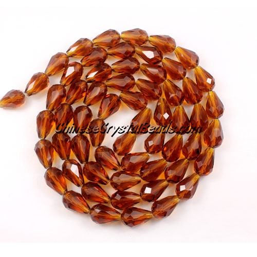 25Pcs 8x12mm Chinese Crystal Teardrop Strand, Dark Amber