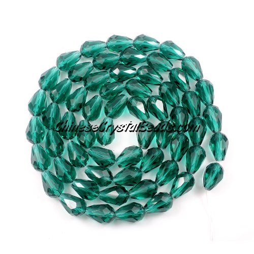30Pcs 8x12mm Chinese Crystal Teardrop Strand, Emerald