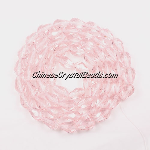 25Pcs 8x12mm Chinese Crystal Teardrop Beads, pink