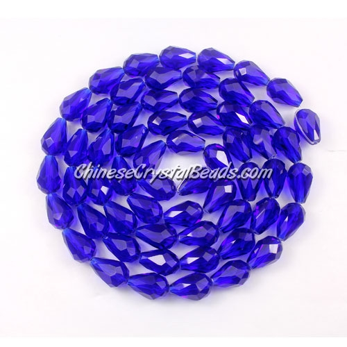 25Pcs 8x12mm Chinese Crystal Teardrop Beads, Sapphire