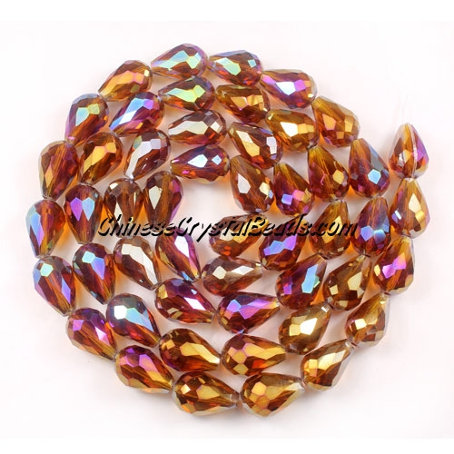 20Pcs 10x15mm Chinese Crystal Teardrop Strand, Dark Amber AB