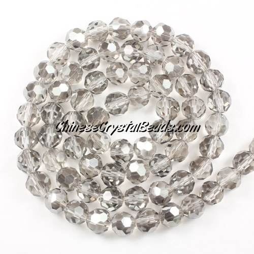 Crystal Round beads strand, 8mm, sliver shade, 25 beads