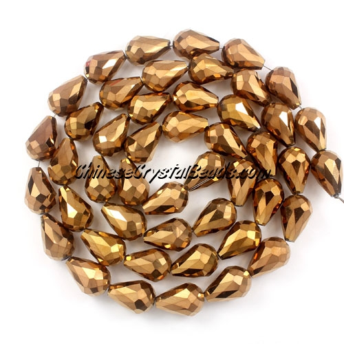 20Pcs 10x15mm Chinese Crystal Teardrop Beads, copper