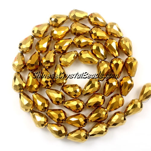 20Pcs 10x15mm Chinese Crystal Teardrop Beads, gold