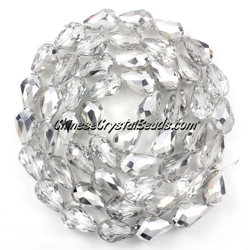 20Pcs 10x15mm Chinese Crystal Teardrop Beads, half silver