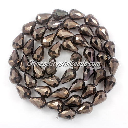 20Pcs 10x15mm Chinese Crystal Teardrop Beads, Hematite,