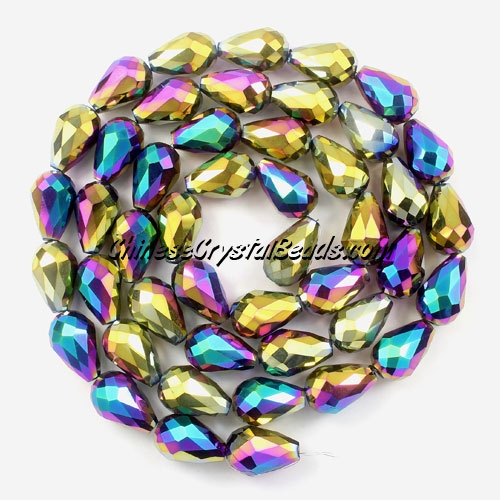 20Pcs 10x15mm Chinese Crystal Teardrop Beads, Rainbow