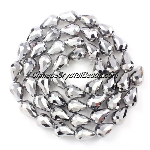 20Pcs 10x15mm Chinese Crystal Teardrop Beads, silver
