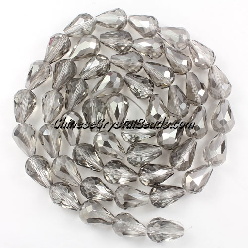 20Pcs 10x15mm Chinese Crystal Teardrop Beads, silver Shade